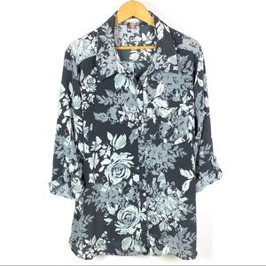 White Stag Womens Black Floral Button Front 1196
